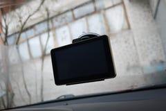 Навигатор автомобиля маршрута Установленный внутри автомобиля, деталей и конца-вверх стоковое изображение rf