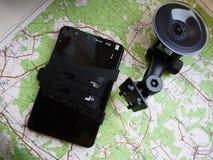 Навигатор автомобиля маршрута Установленный внутри автомобиля, деталей и конца-вверх стоковое фото rf
