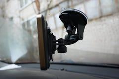 Навигатор автомобиля маршрута Установленный внутри автомобиля, деталей и конца-вверх стоковые изображения rf
