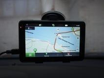 Навигатор автомобиля маршрута Установленный внутри автомобиля, деталей и конца-вверх стоковая фотография rf