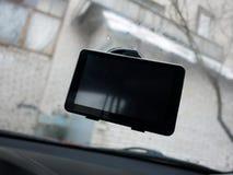 Навигатор автомобиля маршрута Установленный внутри автомобиля, деталей и конца-вверх стоковая фотография