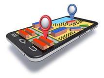 Навигатор мобильного телефона с габаритной картой Стоковое Изображение RF