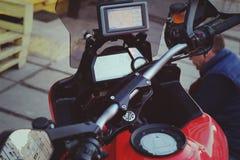 Навигатор gps перемещения мотоцикла Стоковые Фото