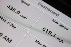 Навигатор gps экрана с скоростью Стоковое Фото