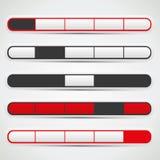 Навигационная панель установила с красными, белыми и черными цветами Стоковая Фотография RF