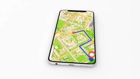 Навигация в телефоне, получает использующ gps навигатор 48 иллюстрация штока