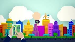 Навигация города, умная концепция app черни иллюстрация вектора