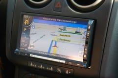 Навигация GPS в интерьере современного автомобиля Стоковое фото RF