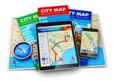 Навигация GPS, перемещение и принципиальная схема туризма Стоковые Изображения