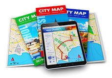 Навигация GPS, перемещение и принципиальная схема туризма Стоковое фото RF