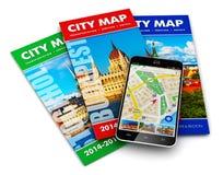 Навигация GPS, перемещение и принципиальная схема туризма Стоковые Фотографии RF