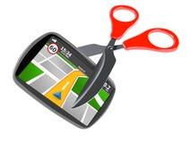 Навигация GPS с ножницами Стоковая Фотография