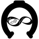 Навсегда полюбите значок при ботинок лошади изолированный на белой предпосылке также вектор иллюстрации притяжки corel иллюстрация вектора