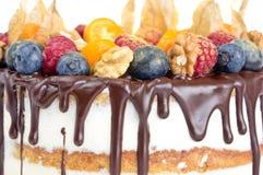 Нагой именниный пирог с плодоовощами Стоковая Фотография RF