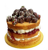 Нагой торт с клубниками шоколада стоковые изображения