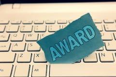 Награда показа примечания сочинительства Приз фото дела showcasing и другая метка опознавания, который дали в честь стоковые фото