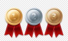 Награды вектора медали чемпиона золота серебряные бронзовые Стоковая Фотография