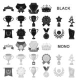 Награды и значки трофеев черные в собрании комплекта для дизайна Вознаграждение и достижение vector иллюстрация сети запаса симво иллюстрация штока