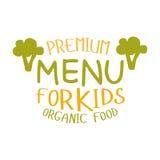 Награда ягнится натуральные продукты, меню кафа специальное для шаблона знака Promo детей красочного с текстом Стоковая Фотография