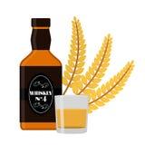 Наградная качественная бутылка вискиа, колосок пшеницы, стекло, съемка fla бесплатная иллюстрация