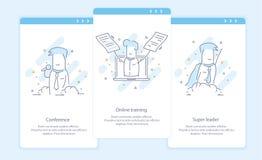 Наградная качественная линия значок и концепция установленное Onboarding: Конференция, онлайн обучение, супер руководитель, бизне иллюстрация штока