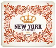 Наградная качественная карточка. Барочные орнаменты и флористический Стоковое Изображение