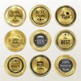 Наградное качественное круглое золото обозначает собрание иллюстрация вектора