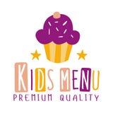 Наградное качество ягнится еда, меню кафа специальное для шаблона знака Promo детей красочного с текстом и пирожное Стоковое Изображение