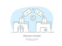 Наградной качественной линия нарисованная рукой установленные значок и концепция: Люди посылая и получая деньги, креня папка иллюстрация вектора