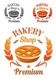 Наградные эмблема или значок магазина хлебопекарни Стоковые Изображения