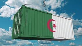 Нагружая контейнер с флагом Алжира Алжирские импорт или экспорт связали схематический перевод 3D иллюстрация штока