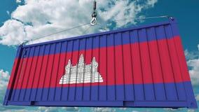 Нагружая контейнер с флагом Камбоджи Камбоджийские импорт или экспорт связали схематический перевод 3D стоковые фото