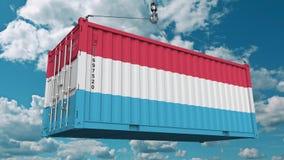 Нагружая контейнер с флагом Люксембурга Luxembourgian импорт или экспорт связали схематический перевод 3D стоковое изображение rf
