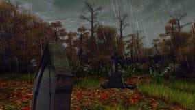 Надгробная плита в страшном лесе осени в дожде иллюстрация штока