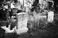 Надгробные плиты на кладбище в черно-белом стоковые фотографии rf