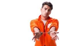 Надеванный наручники красивый бизнесмен изолированный на белой предпосылке Стоковые Изображения RF