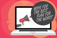 Надежда текста сочинительства слова для самое лучшее Запланируйте для худшей концепции дела для планов Make хороших и плохого уде иллюстрация штока