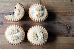 Надземная съемка 4 семенит пироги, традиционное desser рождества Стоковые Изображения