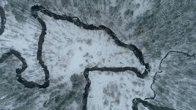 Надземный отснятый видеоматериал трутня над 2 curvy реками в зиме видеоматериал