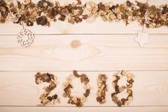 надпись 2018 высушенных цветков Стоковое Изображение RF