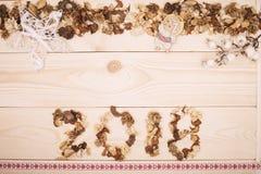 надпись 2018 высушенных цветков Стоковое фото RF