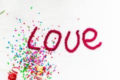 Надпись в связанных письмах на белой предпосылке Изолят дня ` s валентинки St Стоковое Фото