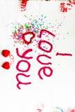 Надпись в связанных письмах на белой предпосылке Изолят дня ` s валентинки St Стоковые Фотографии RF