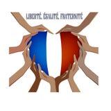 Надпись в французском Vector иллюстрация с руками в форме сердца, внутри национального флага Стоковое Фото
