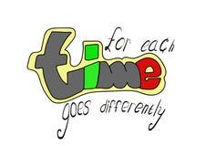 Надпись, заявление о времени, сделала шрифт уникального автора используя серый цвет графита, зеленый, красный и желтый на белом b бесплатная иллюстрация