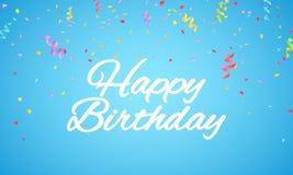 надпись иллюстрации именниного пирога счастливая сделала вектор Письма белой бумаги на голубой предпосылке Взрыв пестротканого co Стоковое Изображение