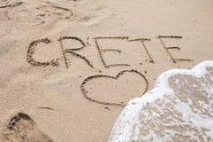 Надпись Крита на песке стоковые изображения rf