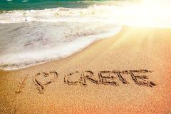 Надпись Крита на песке стоковое изображение rf