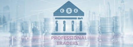 Надпись на виртуальном экране: Профессиональные торговцы Абстрактная предпосылка финансов иллюстрация вектора