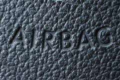 Надпись на кожаном руле о воздушной подушке на воздухе стоковая фотография
